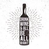 Expression d'écriture en silhouette de bouteille de vin Photos stock