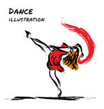 Expression dancer drawing with brush. Dancing girl with red cloth, sketch style vector illustration