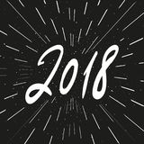 Expression de calligraphie de nouvelle année du vecteur 2018 Composition et éclat modernes en lettrage Photos libres de droits