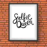 Expression de la Reine de Selfie dans un cadre sur le mur de briques illustration de vecteur