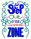 Expression de motivation - étape ou votre zone de confort Lettrage d illustration de vecteur