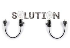 Expression de solution et ampoule, écriture de main, affaires de vente image libre de droits
