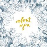 Expression de vecteur de dessin de main au sujet de vous Fond floral de cru Image stock