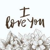 Expression de vecteur de dessin de main je t'aime Fond floral de cru Images stock