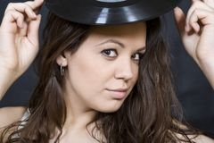 Expression Disco brunette girl with vinyl Royalty Free Stock Image