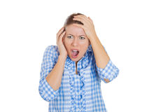Expression of disgust and shock by a young attractive women Royalty Free Stock Images