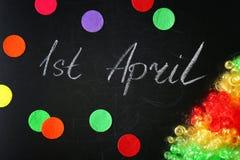 Expression ` ` du 1er avril sur le tableau Photographie stock