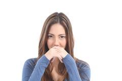Expression du visage sérieuse de femme Photographie stock