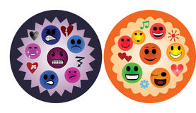Expression of emotions. The expression of positive and negative emotions smileys Stock Photo