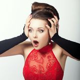 Expression. Face of Shocked Speechless Woman. Astonishment Royalty Free Stock Images