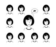 Expression face of woman. royalty free illustration