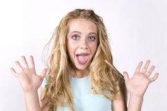 Expression girl exicited Stock Photography