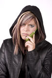 Expression girl mad on phone Royalty Free Stock Image