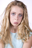 Expression girl sad. A girl with a sad expression and pouty lip Royalty Free Stock Images