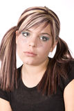 Expression girl sad pony tails Stock Images