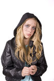 Expression girl sad with rose Royalty Free Stock Photos
