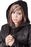 Expression girl sad wearing black Royalty Free Stock Photo