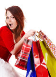 Expression girl with shopping bag. Royalty Free Stock Image