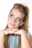 Expression girl thinking and happy Stock Photography