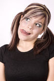Expression girl tongue out Royalty Free Stock Image