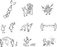 Expression graphique des émotions et des actions humaines illustration de vecteur
