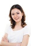Expression heureuse de visage de jeune femme Images stock
