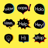 EXPRESSION ICON. Different style speech bubble graphics with popular expression words Stock Images