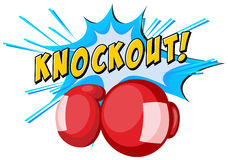Expression knockout and boxing gloves Royalty Free Stock Photo