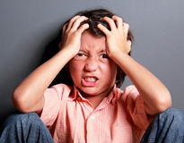 Expression of little boy feel stress Royalty Free Stock Photos