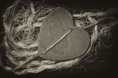 The expression of love feelings. Wooden heart decorative background Stock Image