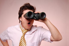 Expression men with binocular. Royalty Free Stock Photos
