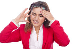 Expression of pain and discomfort at work. Woman beautiful expression of pain and discomfort at work Stock Photos