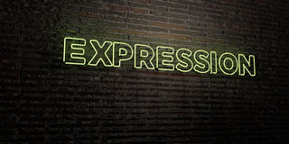 EXPRESSION -Realistic Neon Sign on Brick Wall background - 3D rendered royalty free stock image Stock Photo