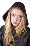 Expression sad girl with black rose Stock Photo