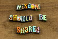 Expression sage d'aide d'éducation d'histoire de la connaissance de sagesse de part images stock