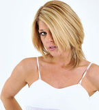 Expression Series - Shy Blonde woman Royalty Free Stock Image
