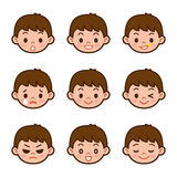 Expression set of boy Stock Images