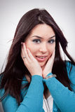 Expression stupéfaite sur le visage de jeune femme Photos libres de droits