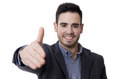Expression of success. Young man with expression of success isolated on white Royalty Free Stock Images