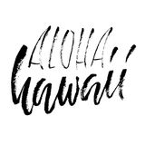 Expression tirée par la main Aloha Hawaii Conception de lettrage pour des affiches, T-shirts, cartes, invitations, bannières Illu Photos stock