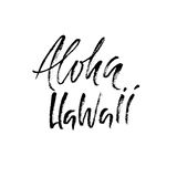 Expression tirée par la main Aloha Hawaii Conception de lettrage pour des affiches, T-shirts, cartes, invitations, bannières Illu Photographie stock