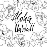 Expression tirée par la main Aloha Hawaii Conception de lettrage pour des affiches, T-shirts, cartes, invitations, bannières Illu Photographie stock libre de droits