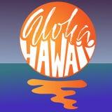 Expression tirée par la main Aloha Hawaii Moderne séchez la conception de lettrage de brosse pour des affiches, T-shirts, cartes, Photos stock