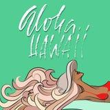 Expression tirée par la main Aloha Hawaii Moderne séchez la conception de lettrage de brosse pour des affiches, T-shirts, cartes, Photographie stock