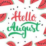 Expression tirée par la main de lettrage de typographie bonjour, auguste sur le fond de pastèque Images libres de droits