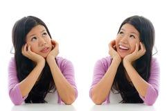 Expression triste et heureuse de visage Photographie stock libre de droits