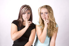 Expression two girls shhh Royalty Free Stock Photography