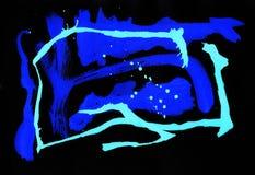 Expressionism konst, målarfärg, abstrakt begrepp som är ljust, blått Royaltyfri Bild