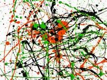 expressionism Patroon de rode zwarte groene verf ploeterde met lijnen en dalingen op een witte oppervlakte Hoogste mening royalty-vrije stock fotografie