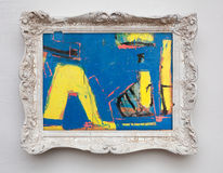 Expressionismkanfas för abstrakt konst i antik vit ram för tappning Royaltyfria Foton